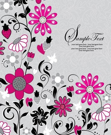 invitation with pink flowers Ilustração