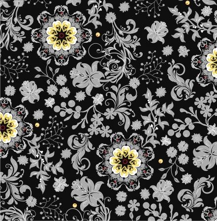 grey pattern: vintage floral background Illustration