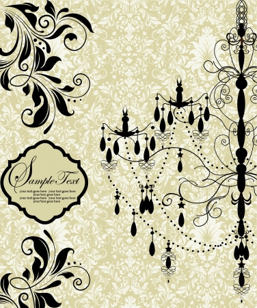 interior decoration: invitation card with luxury chandelier on floral background