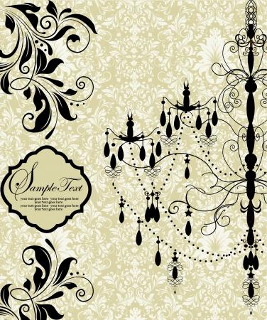uitnodigingskaart met luxe kroonluchter op florale achtergrond Stock Illustratie