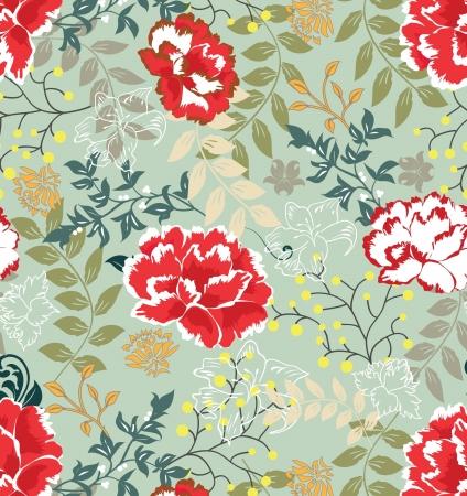 Naadloze: Retro bloemen naadloze achtergrond, patroon