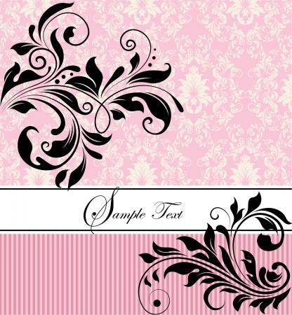 レトロ: ピンクの花の結婚式の招待
