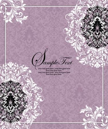スワール: 紫の招待カード、ベクトルのデザイン  イラスト・ベクター素材