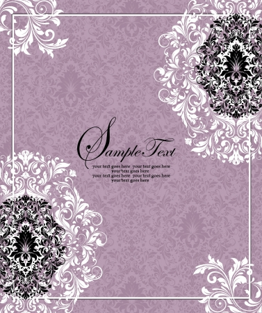 curls: purple invitation card,vector design