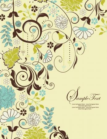텍스트 꽃 배경과 장소와 초대 카드