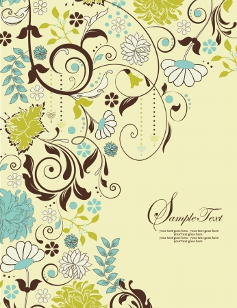 brown: invitation card with floral background and place for text