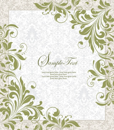 invitacion fiesta: Invitaci�n tarjeta vendimia con el ornamento floral