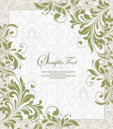 Uitnodiging vintage kaart met florale versiering