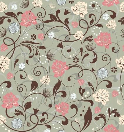 textiles: Seamless Floral Pattern Illustration