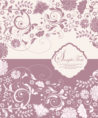 Flower greeting card. Wedding invitation Vector