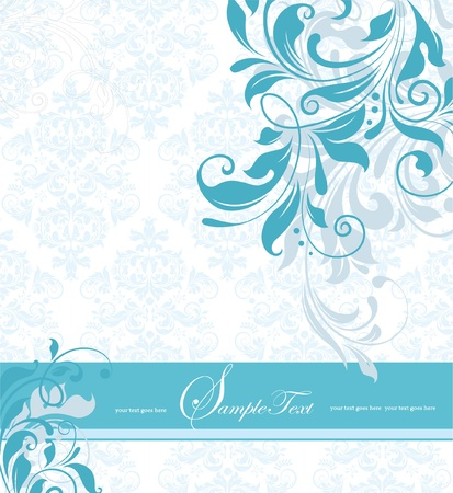 blue floral invitation card Illustration
