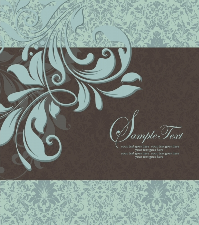 brown: vintage blue damask invitation with floral elements