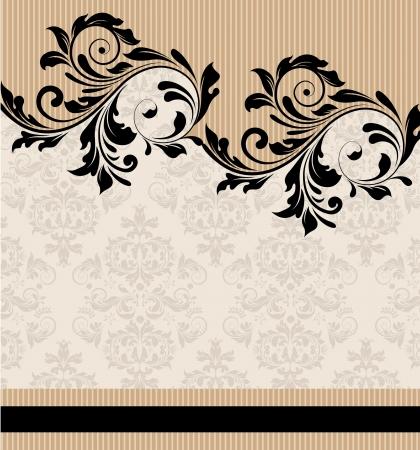 スワール: 黒旋回のダマスク織ビンテージ背景