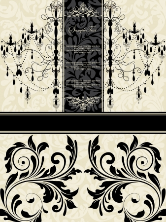 black lace: Luxury chandelier on floral background