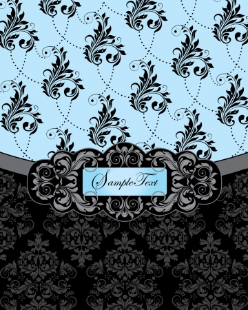 blue damask wedding invitation card