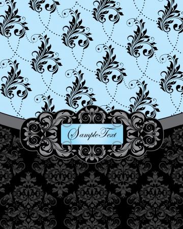 blue damask: blue damask wedding invitation card