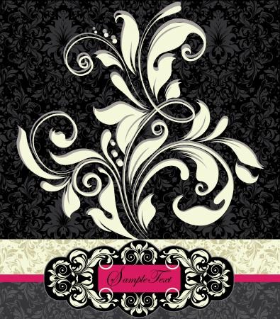 スワール: テキストの場所と花の招待状  イラスト・ベクター素材