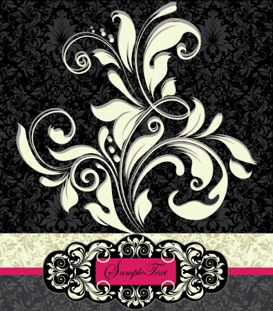 black damask: floral invitation card with place for text Illustration