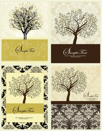 Set Of Four Family Reunion Invitation Card Illustration