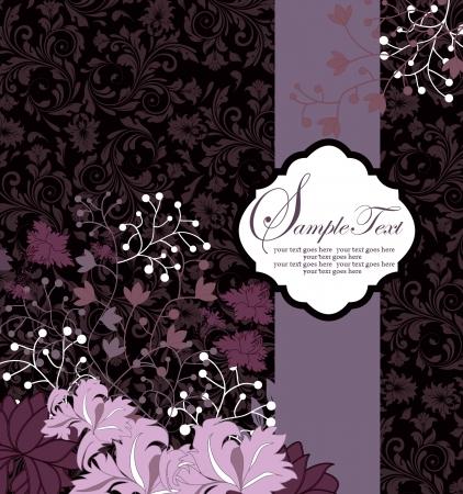 deseos: fondo floral p�rpura con texto de ejemplo