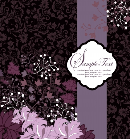 purple floral background with sample text Ilustracja