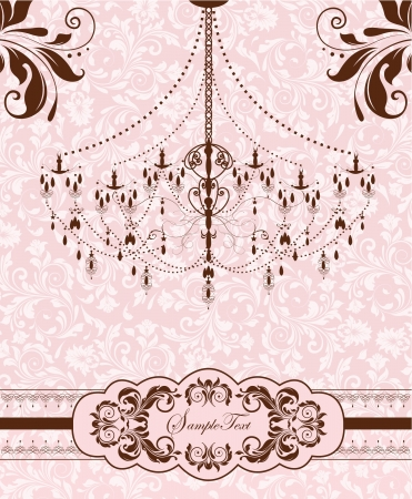 chandelier background: wedding invitation card