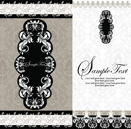 vintage postcard: Black and White Damask Wedding Invitations