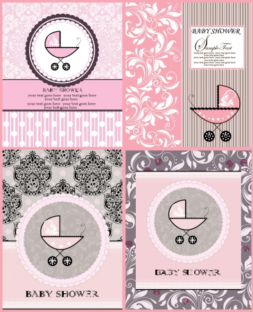 cute baby girls: baby shower announcement cards