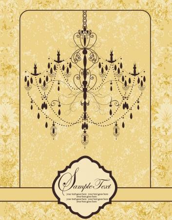 レトロ: 招待ビンテージ カード花飾りとシャンデリア