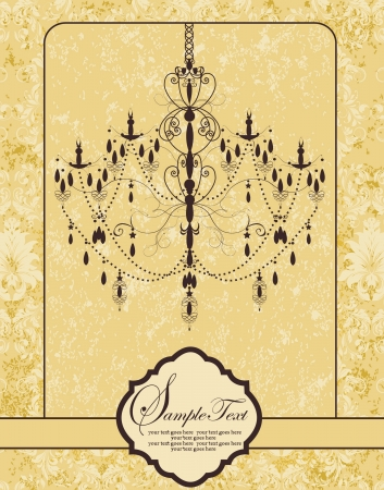 chandelier background: Invitation vintage card with floral ornament and chandelier