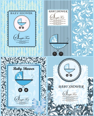 new born baby boy: SET OF FOUR BABY SHOWER ANNOUNCEMENT