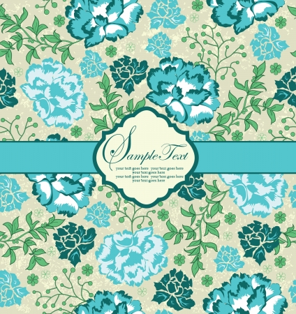blue floral invitation card with place for text Vector