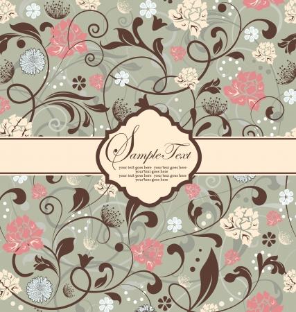 レトロ: ビンテージ花の招待カード  イラスト・ベクター素材