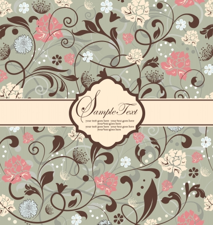 VINTAGE FLORAL INVITATION CARD Illustration