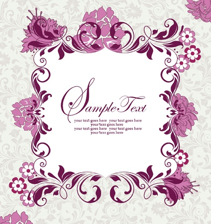invitation card with purple flowers Vector