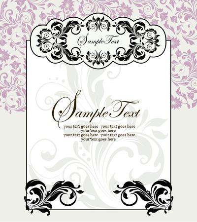 スワール: 花の背景とビンテージの招待カード  イラスト・ベクター素材