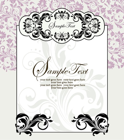 floral scroll: vintage invitation card with floral background