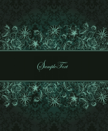 lace pattern: Elegant vintage card with damask background