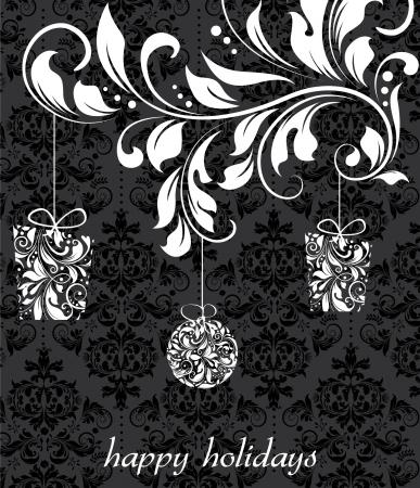 happy holidays: Elegant christmas floral achtergrond met ballen, vector ontwerp Stock Illustratie