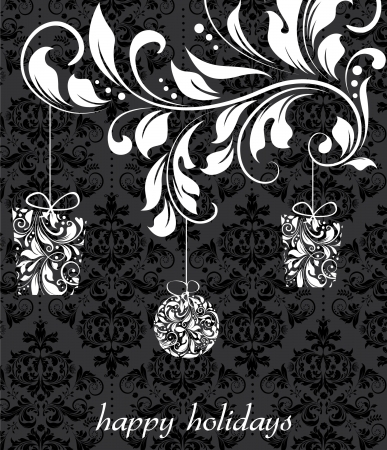 new year card: Elegant christmas floral background with balls, vector design Illustration