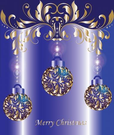 natale: Christmas bulbs on blue background