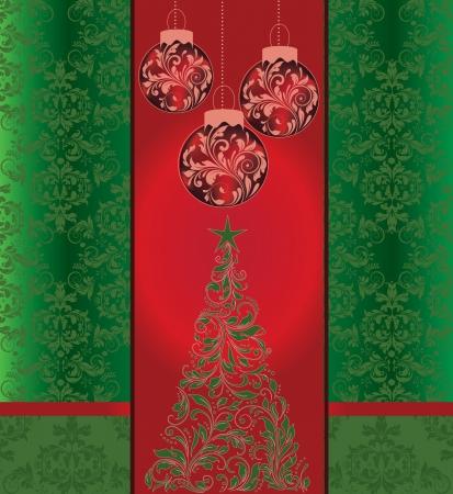 Christmas damask background Stock Vector - 16255549