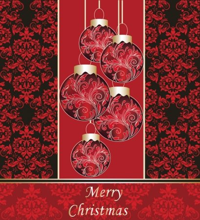 Christmas Party Damask Invitation Vector