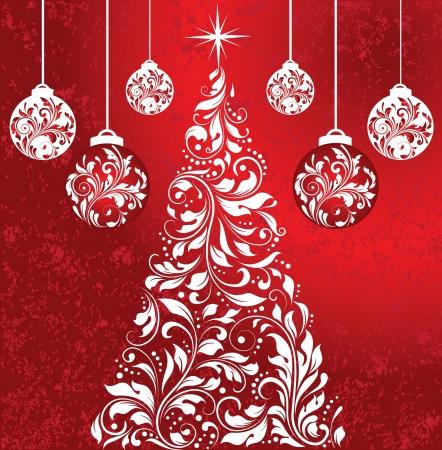 Swirly White Christmas Tree With Balls Stock Vector - 16255498