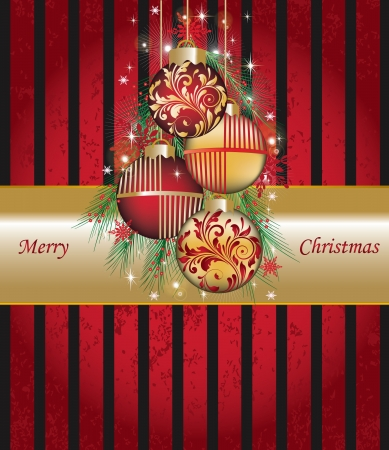 Illustration Christmas card or background with set balls - vector Stock Vector - 16255537