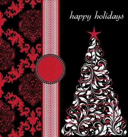 Christmas damask background Stock Vector - 16478534