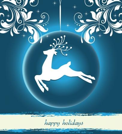 Beautiful Reindeer on Blue background Stock Vector - 16478499