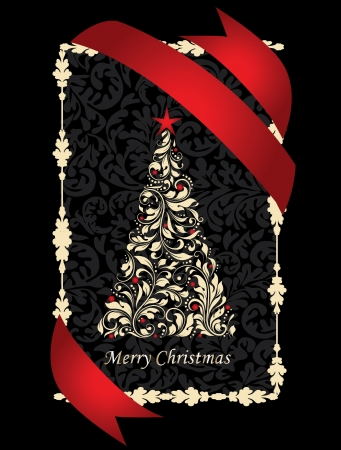 Swirly Christmas Tree With Balls Stock Vector - 16478513