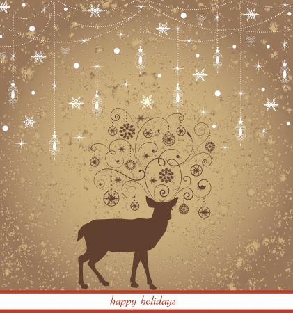 Beautiful Reindeer on Brown background Vector