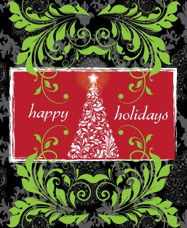 Christmas damask background Stock Vector - 16614600